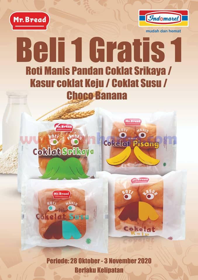 Promo Mr Bread Roti Indomaret Beli 1 Gratis 1 Periode 28 Oktober - 3 November 2020