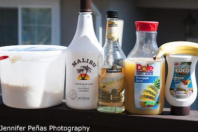 Banana cream colada, coconut rum, malibu rum, banana, banana liqueur, pineapple juice, cream of coconut, vanilla ice cream