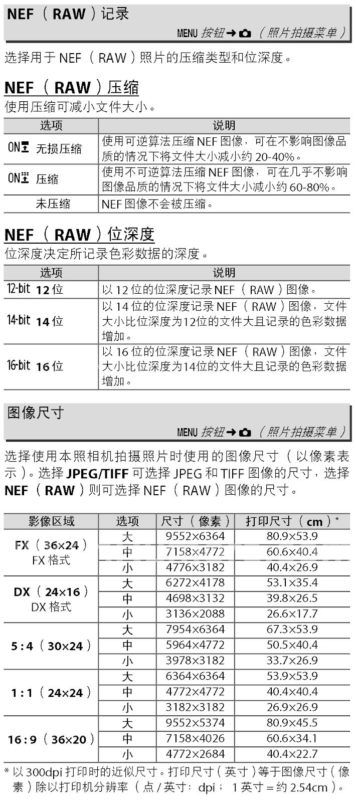 Таблица с характеристиками фотоаппарата Nikon из инструкции