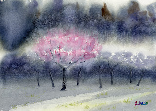 水彩画「梅の香り」講師作品