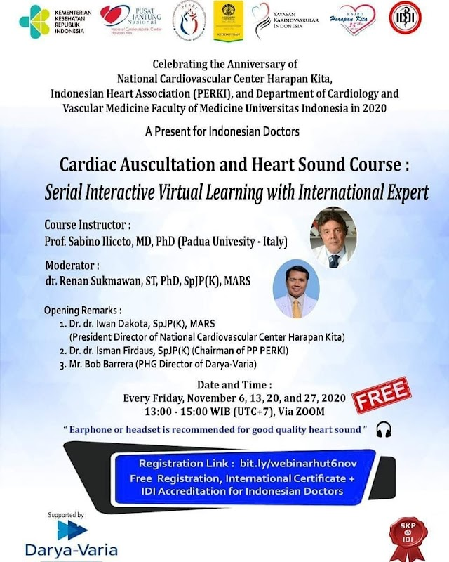 series of Virtual learning course Cardiac Auscultation and Heart Sound on 6, 13, 20 dan 27 November 2020