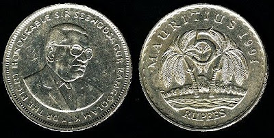 Mauritius km56 5 Rupees (1987-1992) 1987 Coin