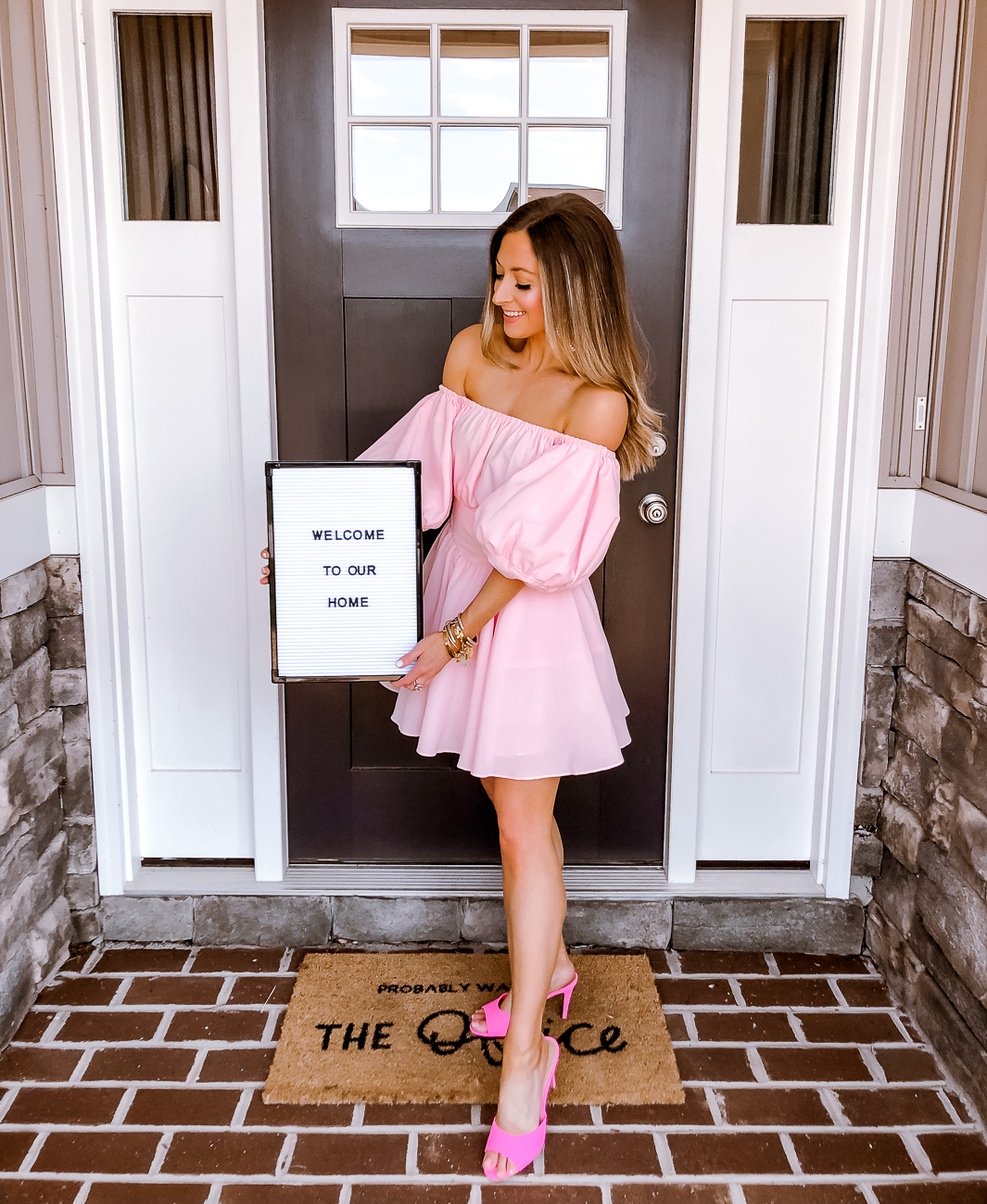 j.ing pink off the shoulder dress