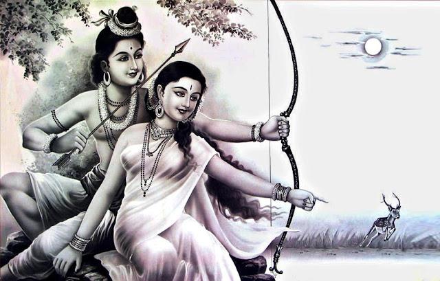 Lord Ram & Sita Black ana Wihte Wallpaper