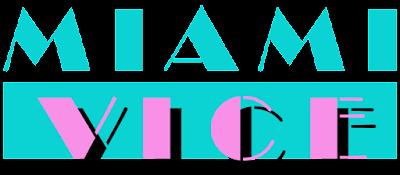 Logo Miami Vice, Letras en Verde y fondo blanco arriba y Rosa con fondo verde abajo