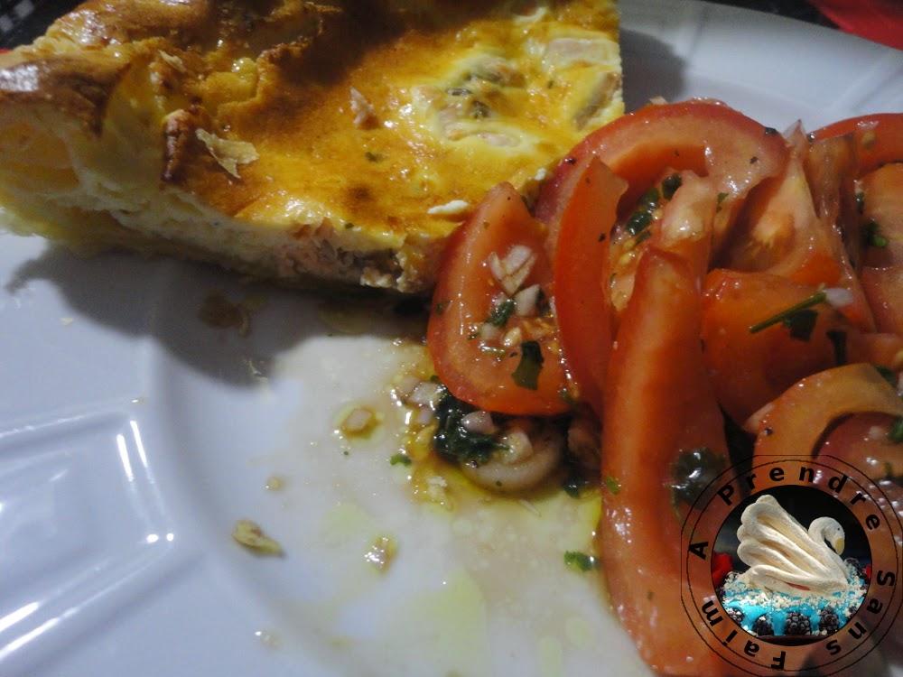 Quiche au saumon et fromage à l'ail