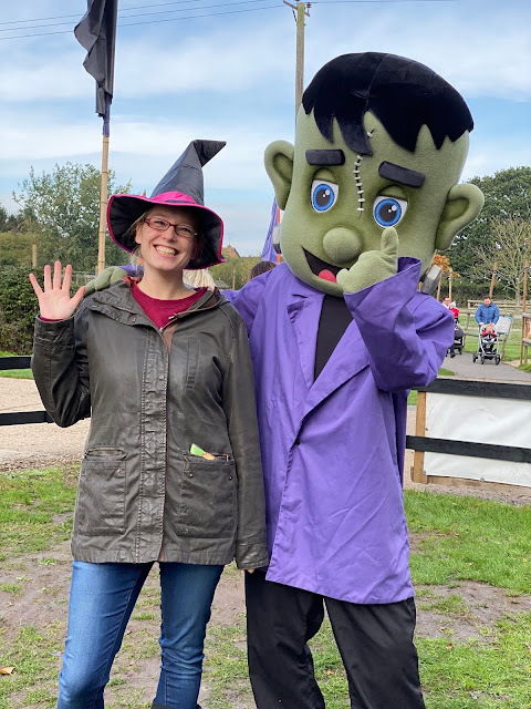 Me and a character dressed as a friendly looking frankenstein at Marsh Farm Halloween festival review