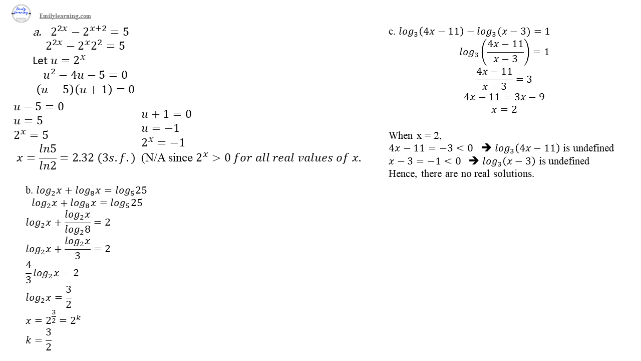 O level additional mathematics specimen paper 2 question 9 :Solving equations involving exponential and logarithmic functions