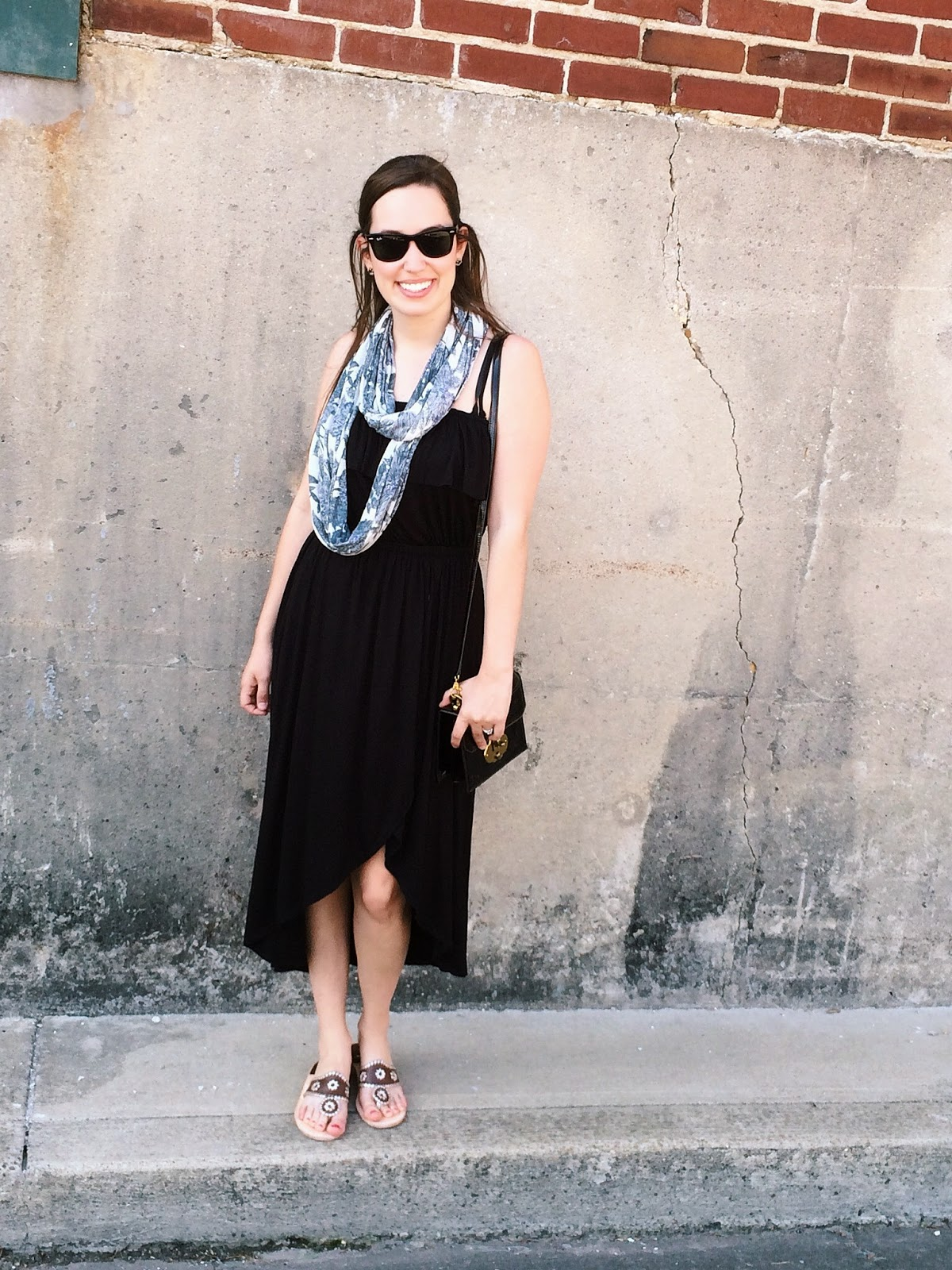 trendy in texas, blog, jack rogers, black maxi dress, strapless black maxi dress, tasseled necklace scarf, tasseled necklace scarf anthropologie, eyelet vines infinity scarf, anthropologie