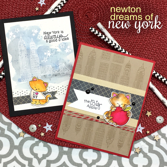 New York Cat Cards by Jennifer Jackson | Newton Dreams of New York Stamp and Die Set by Newton's Nook Designs #newtonsnook #newyork