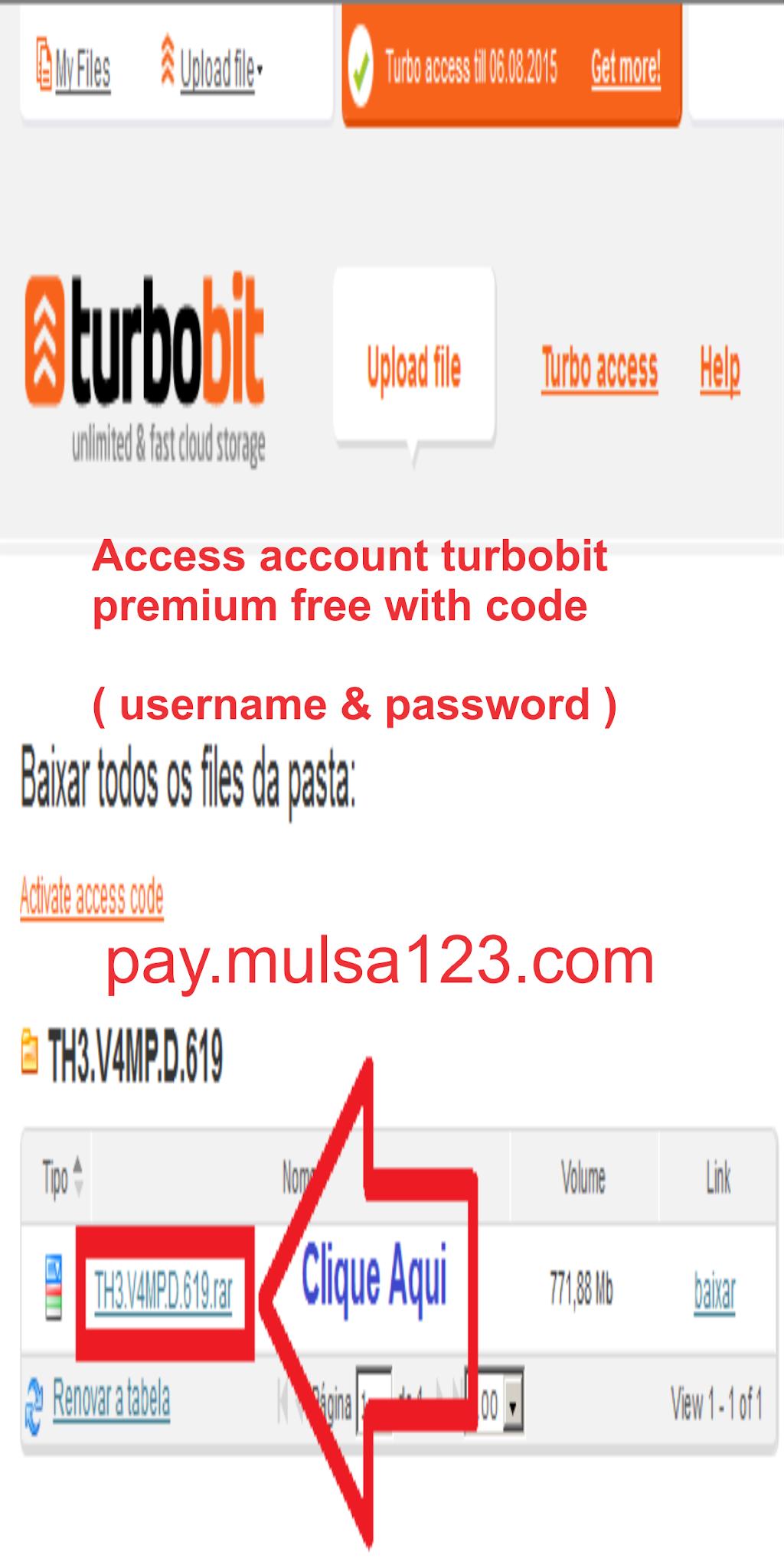 Access account turbobit premium free with code ( username & password )