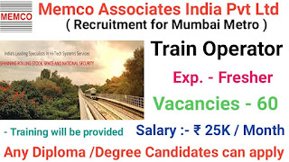 Diploma/BE/BSC Freshers And Experienced Jobs Vacancy For Train Operator Position in  Mumbai Metro |  Apply Online Now