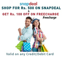 Shop for Rs.500 or more @ Snapdeal & Get Rs. 100 off on Freecharge (Valid till 11th Sep'15)