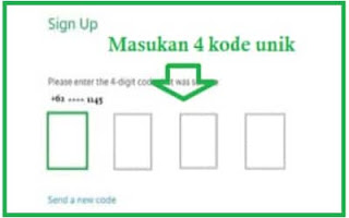 Kode unik Pendaftaran GrabBike Balige Via SMS
