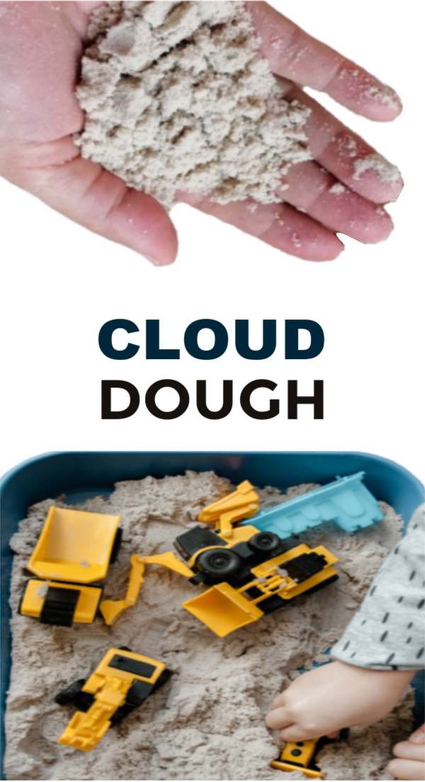 Make mold-able play dough using just two ingredients! #clouddough #clouddoughrecipe #flourdoughforkids #playdough #growingajeweledrose #activitiesforkids