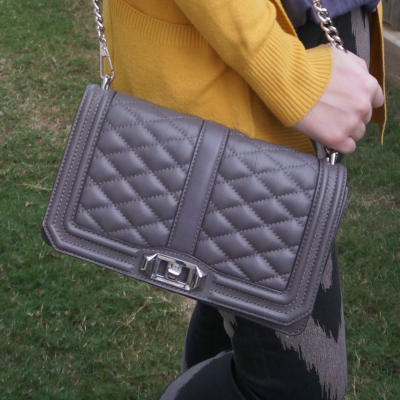mustard cardigan with Rebecca Minkoff quilted Love cross body bag in grey | away from blue