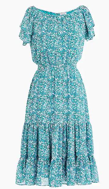 J Crew Tiered Floral Midi Dress