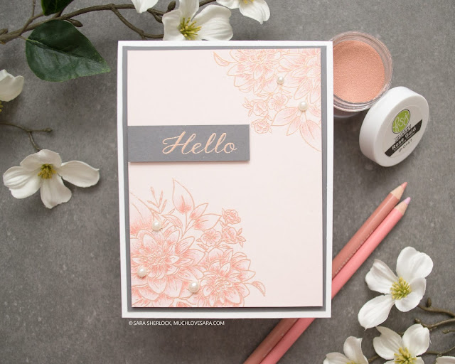 Simple, and pretty, pink and gray card created using WPlus9 Beautiful Bouquets: Dahlias Stamp Set.