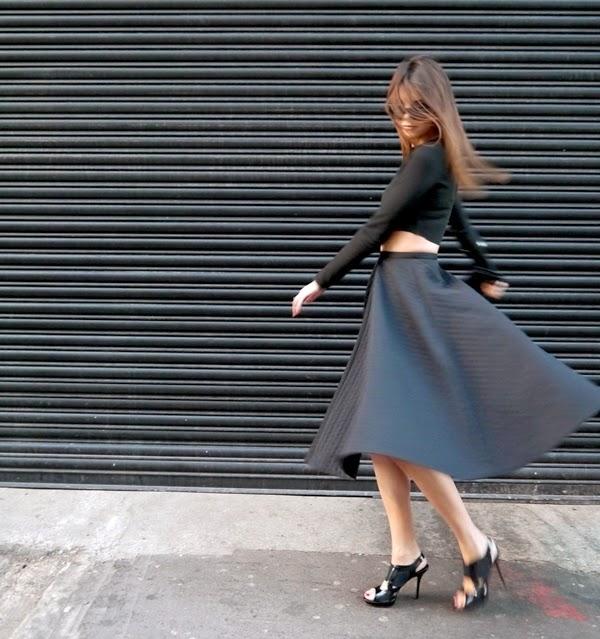 Black crop top and midi skirt in Mayfair