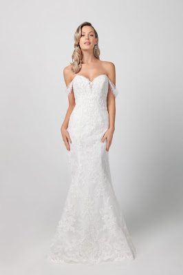 Michelle Roth off the shoulder Beaded Floral Fit and Flare Bridal Dress in US