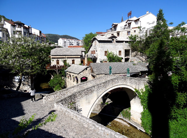 "The ""Kriva Cuprija Bridge"" in Mostar and our hotel of the same name"