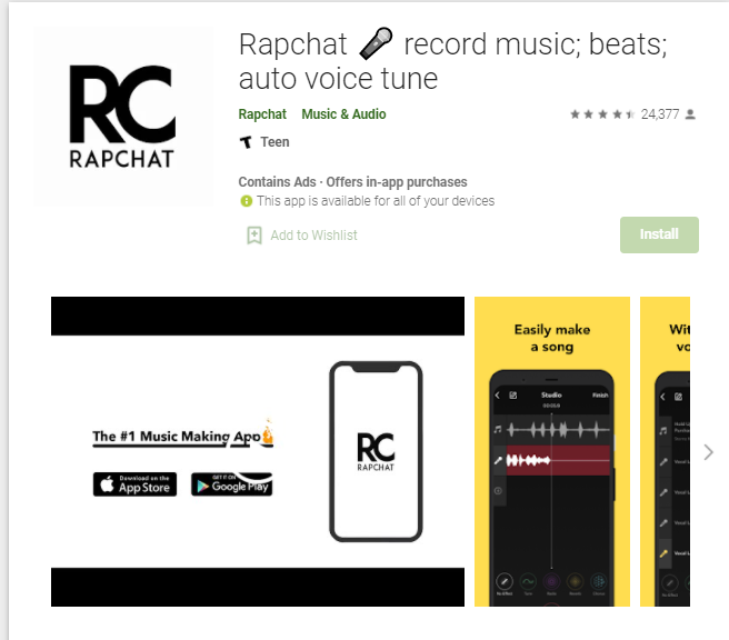 rapchat auto tune app for android