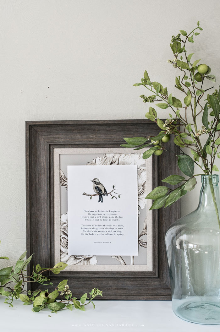 Watercolor bird and poem in frame