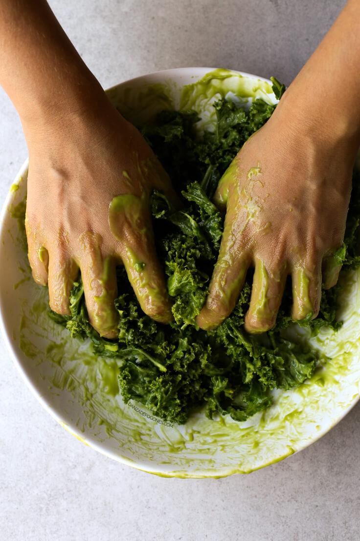 How to massage the kale | danceofstoves.com #vegan