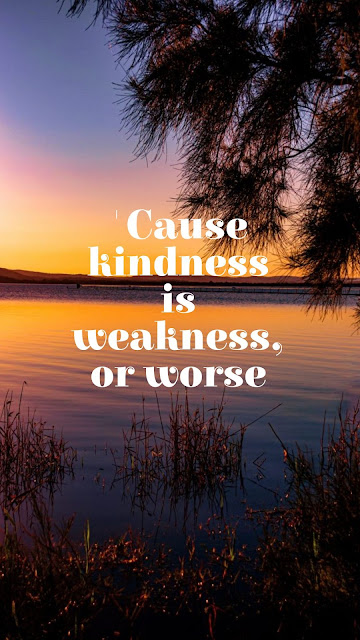 'cause kindness is weakness, or worse