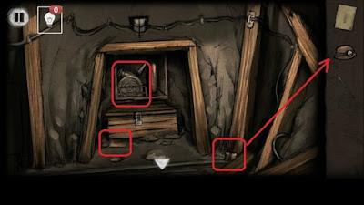 подбираем батарею, шланг и записку с подсказкой в игре выход из заброшенной шахты