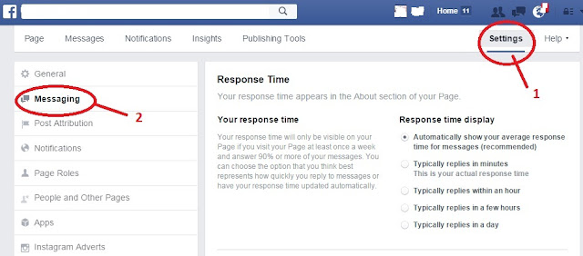 Turn on Facebook Instant Replies - step 1