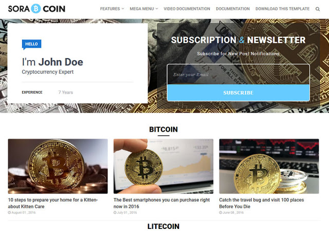 Cryptocurrency News Responsive Blogger Template