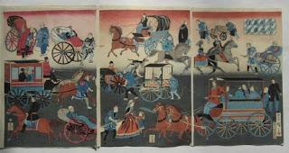 歌川三代広重 東京繁昌馬車往返の浮世絵版画販売買取ぎゃらりーおおのです。愛知県名古屋市にある浮世絵専門店。