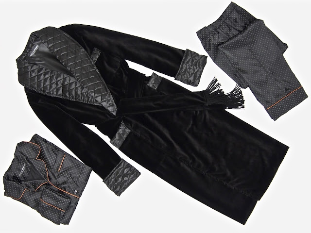Men's black velvet dressing gown cotton quilted silk robe warm extra long ankle length