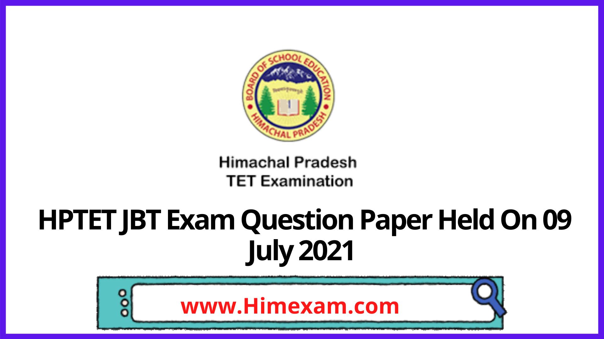 HPTET JBT Exam Question Paper Held On 09 July 2021