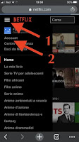 menu hamburger per accedere alle impostazioni account netflix browser mobile telefono android iphone lumia blackberry