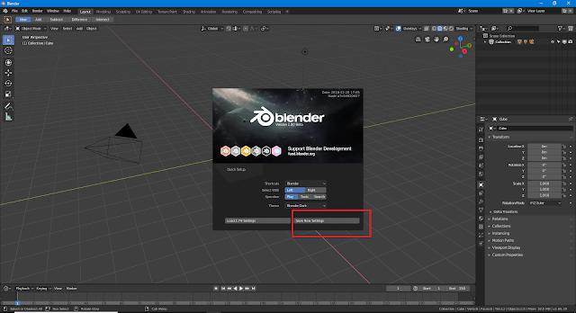 Blender 2.8 save new settings