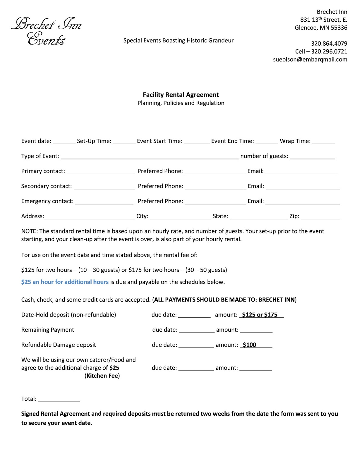 Event Rental Agreement Form