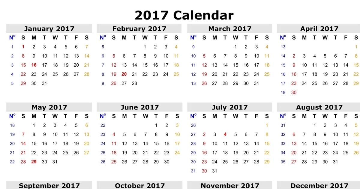 2017 Calendar Canadian Holidays