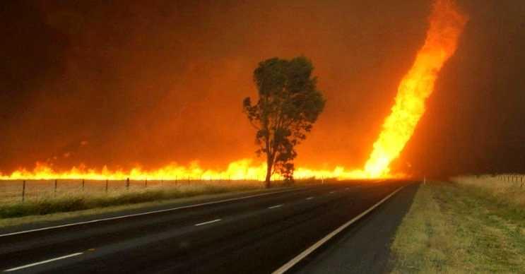 Ateş anaforu yaktığı her şeyi etrafa saçar ve yangını daha da büyütür.