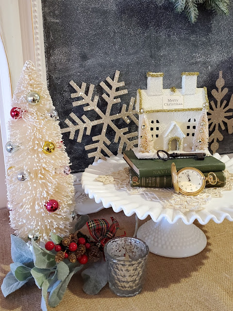 Cloche,  Christmas foyer vignette, Christmas decor,  Christmas decorating, Vintage Home Studio, farmhouse finds
