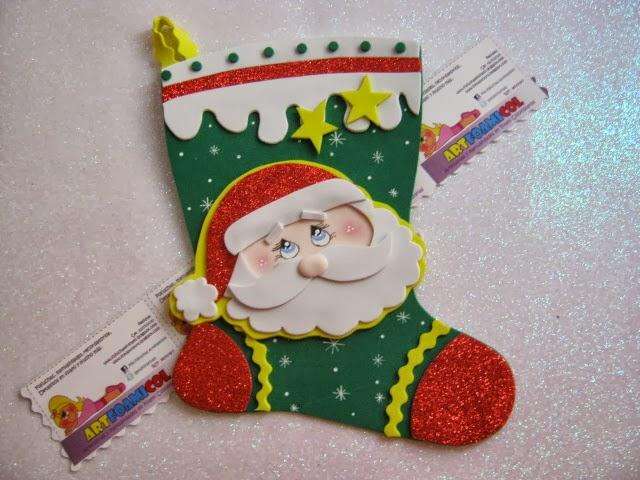 Bota Navidena De Papa Noel Manualidades En Goma Eva Y Foami - Manualidades-navideas-papa-noel