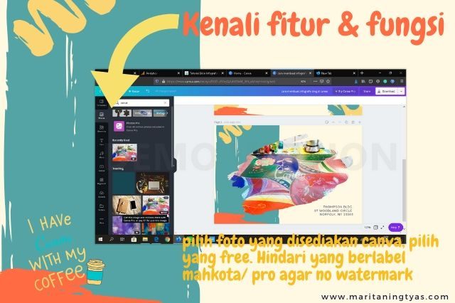 cara membuat infografis blog pilih foto canva gratis dan berbayar