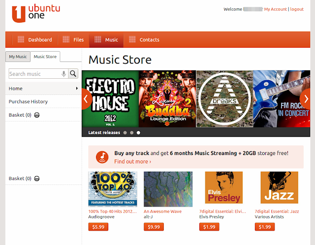 ubuntu one music store integrated into ubuntu 12.10