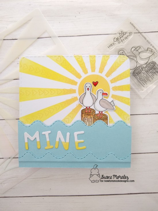 Mine by Diane features Sunscape, It's a Plan, Gull Friends, Sea Borders, Essential Alphabet, and Frames Squared by Newton's Nook Designs; #newtonsnook