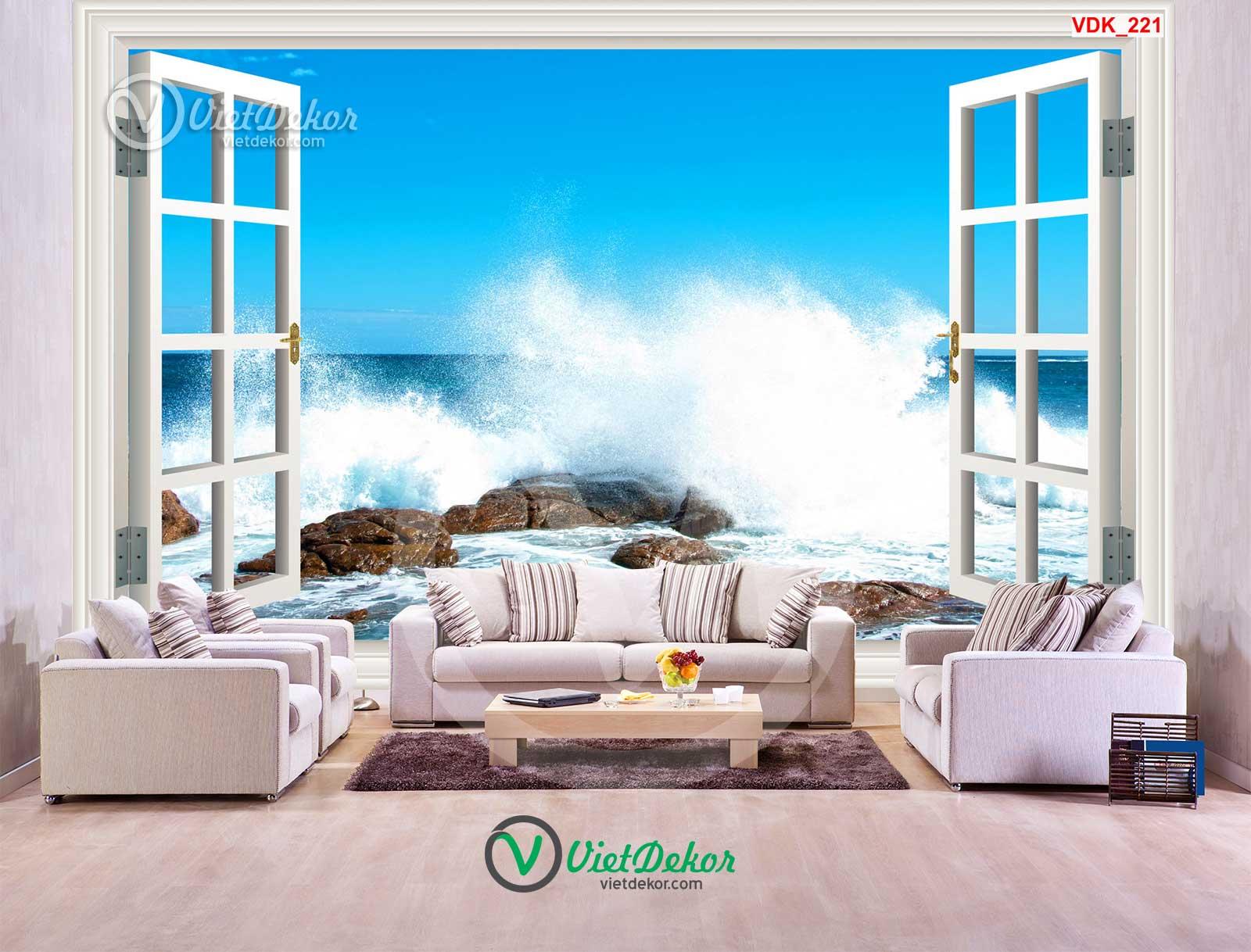 Tranh dán tường 3d cửa sổ sóng biển