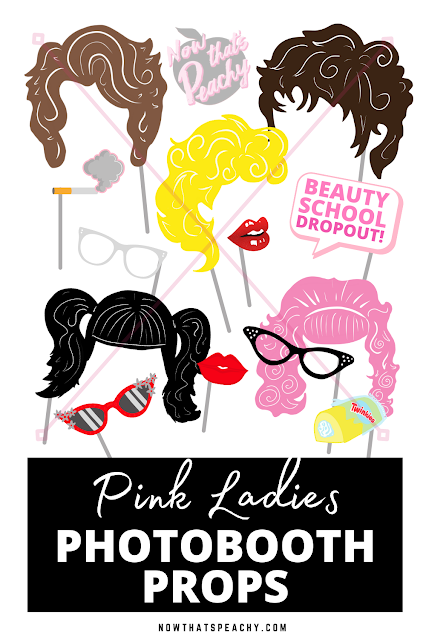 Pink Ladies Grease Photobooth party props to download, print and use