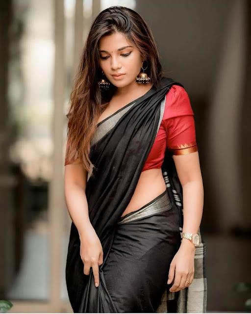 Tamil Actress Aathmika Hot Black Saree Photo Stills Navel Queens