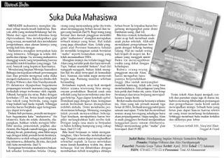 Suka Duka Mahasiswa merupakan resensi atas buku Mendayung Impian Menuju Samudera Bahagia karya Wahyu Wibowo dan Ales Nurdiyansyah terbitan Pustaka Senja di muat oleh Kabar Madura.