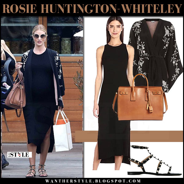 Rosie Huntington-Whiteley in black midi dress enza costa, black embroidered jacket talitha and studded sandals valentino what she wore may 9 2017